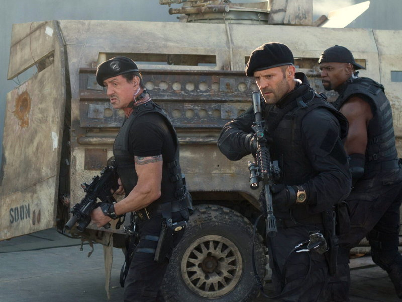 "Sylvester Stallone, Jason Statham and Terry Crews star in ""The Expendables 2,"" in theaters now."