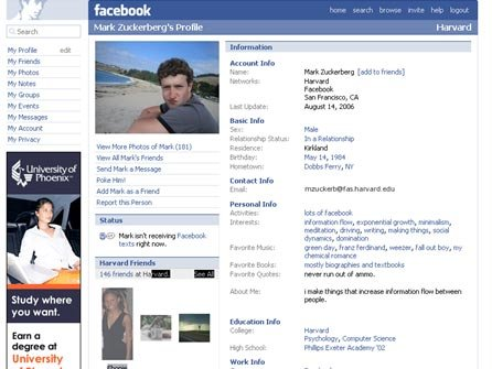 An old-school Facebook page.