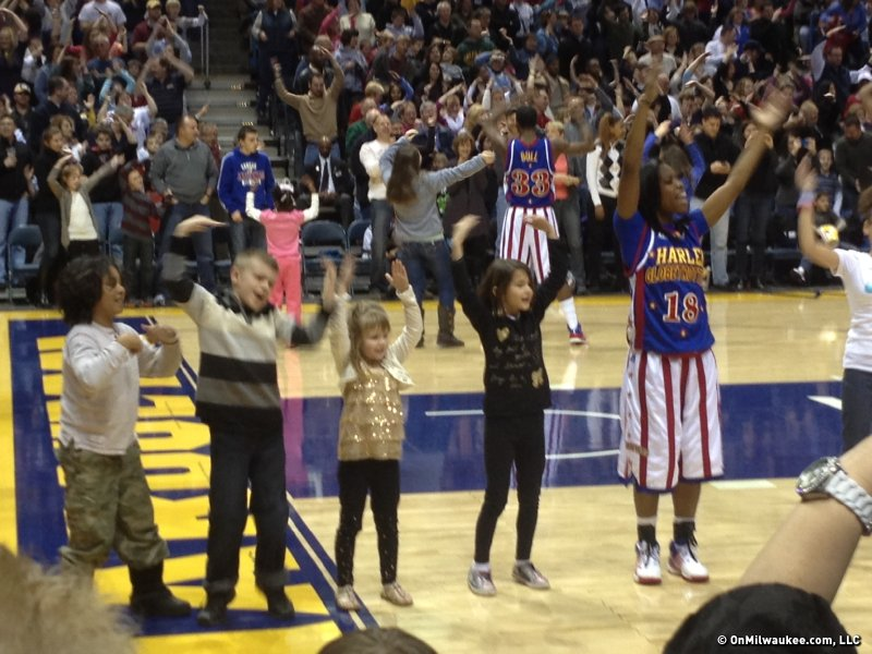 "Girl Globetrotter Fatima ""TNT"" Maddox leads the ""YMCA."" Um, yeah, my kid is clueless."
