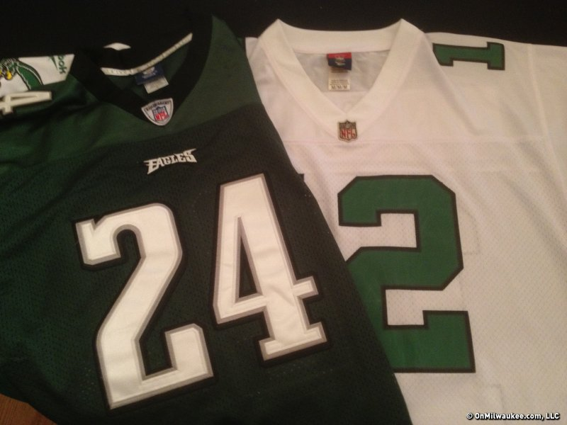 "Fake ""authentic"" jerseys, like the one on the left, is big business."