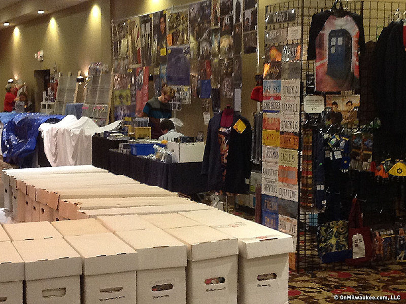 Vendors take down displays and cover their stock at the close of Fantasticon on Friday night.