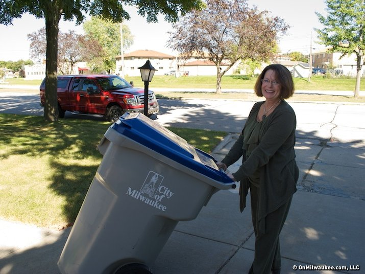 Talking trash with a female garbage collector