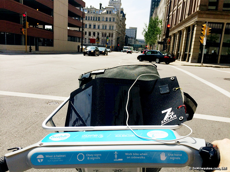 I threw my bag and solar charger in the Bublr basket and took one for a spin.