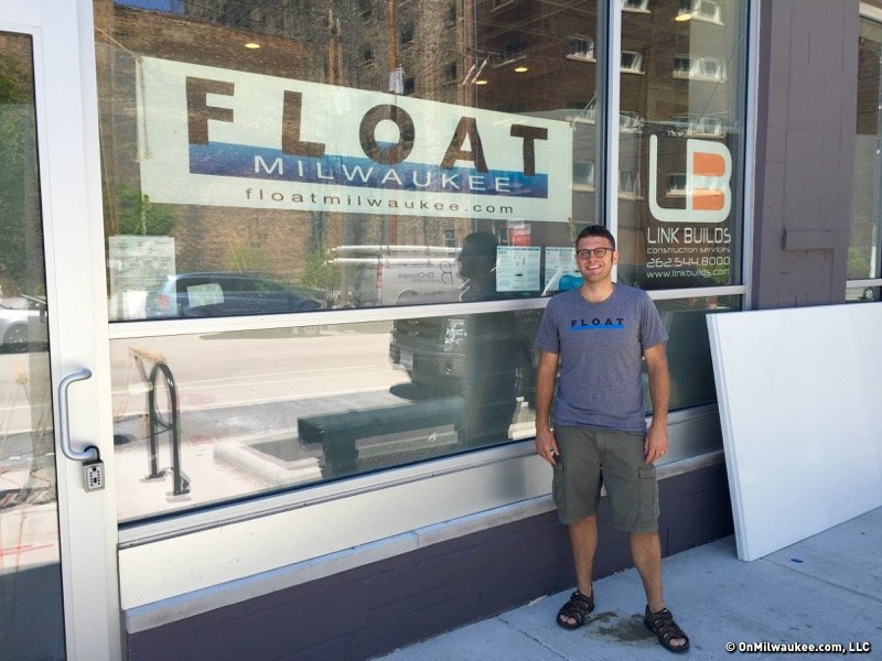Andy Larson stands outside the new Float Milwaukee, opening mid-August.