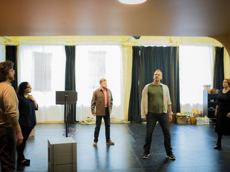 "Peter Volpe (from left to right), Jenni Bank, David Danholt, Wayne Tigges and Alwyn Mellor rehearse for the Florentine's upcoming production of ""The Flying Dutc"