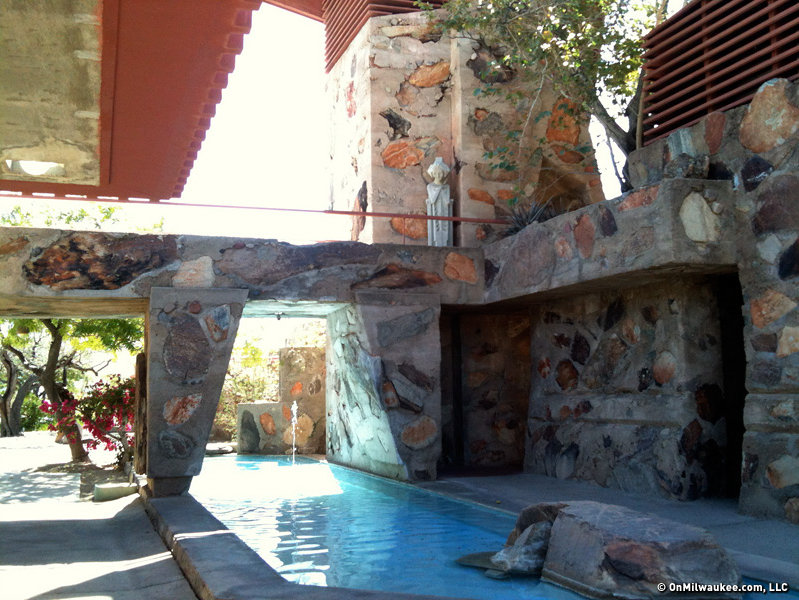 Taliesen West is so well integrated into its setting that you can only really see it once you've come entirely face to face with it.