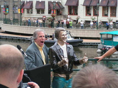 The unveiling of the Bronze Fonz