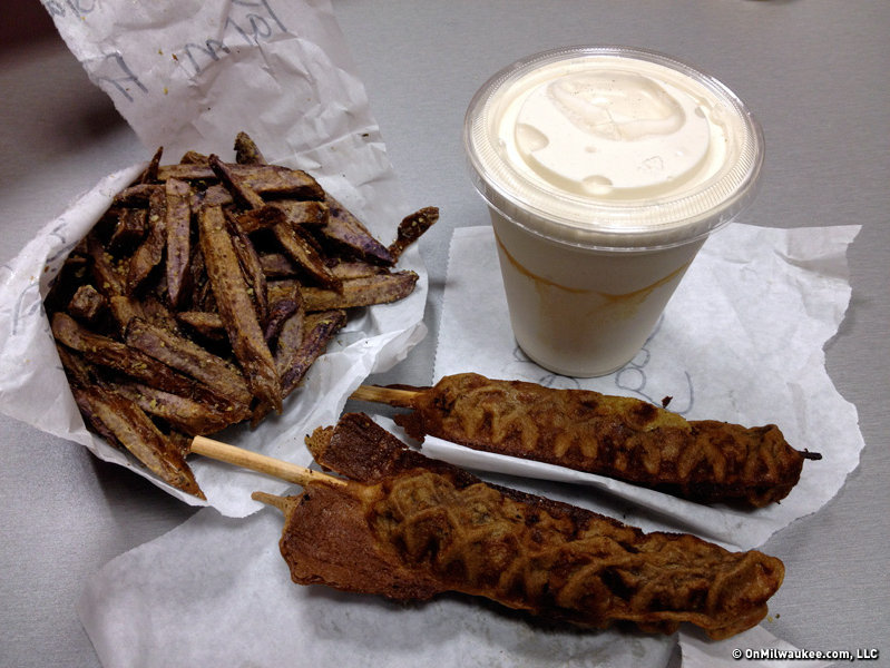Waffle dogs, purple fries and a shake from Eats & Treats.