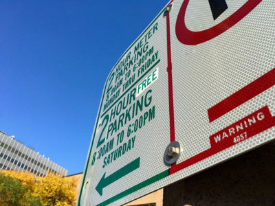 Stickers reveal free parking in Downtown Milwaukee