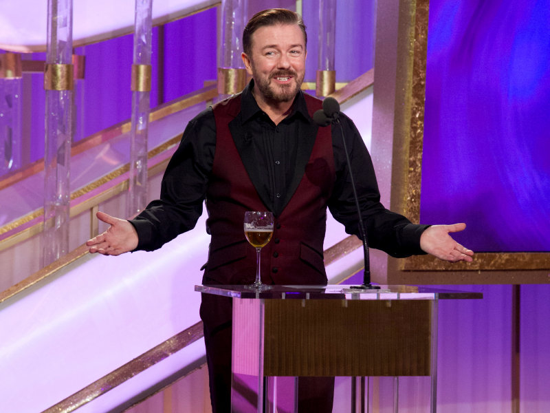 Ricky Gervais hosts the 69th Annual Golden Globe Awards. (© HFPA, Golden Globe Awards)