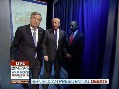 Awkward GOP debate open