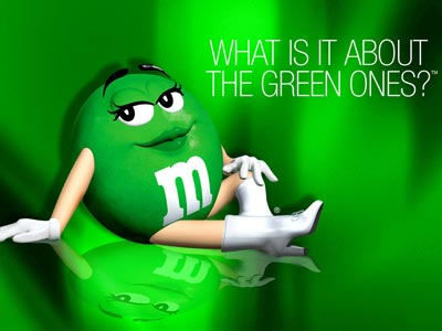 The M&M / Mars company has used the Legend of the Green M&M in marketing messages since 1997.