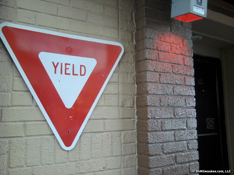 Drop whatever you're doing and stop in to Yield for a drink (the sign says so).