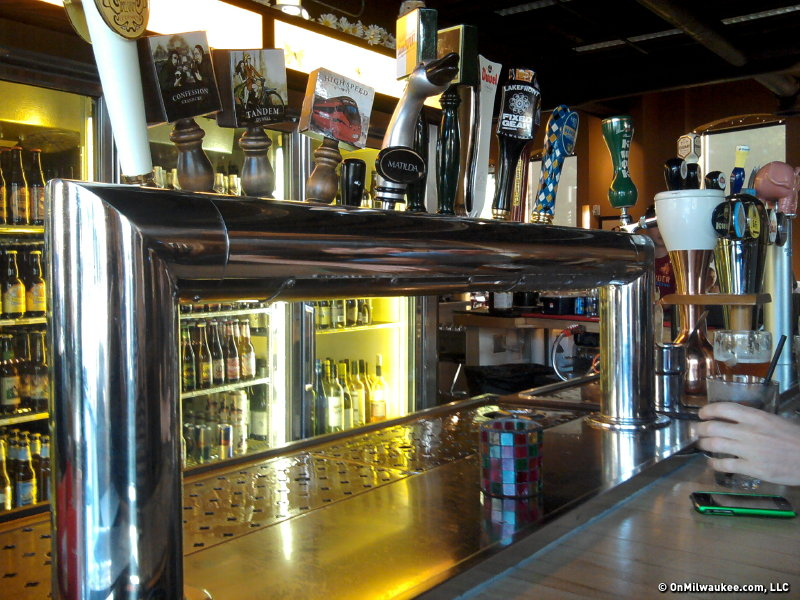 The tap is definitely a focal point, but so is the ridiculously big cooler on the back wall of the bar space.