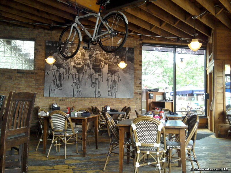 The interior of the Downer Avenue cafe has a great feel thanks to the exposed brick and rustic furniture.