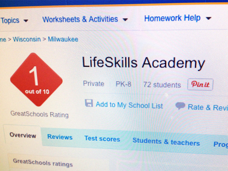 GreatSchools.org rated LifeSkills Academy in Milwaukee a 1 out of 10.