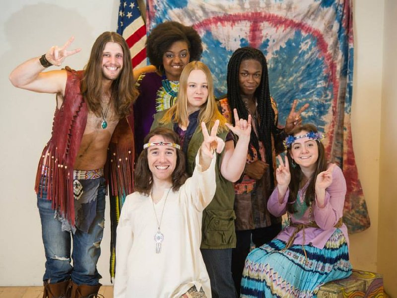 "The cast of ""Hair,"" now at the Skylight Music Theatre through June 8."