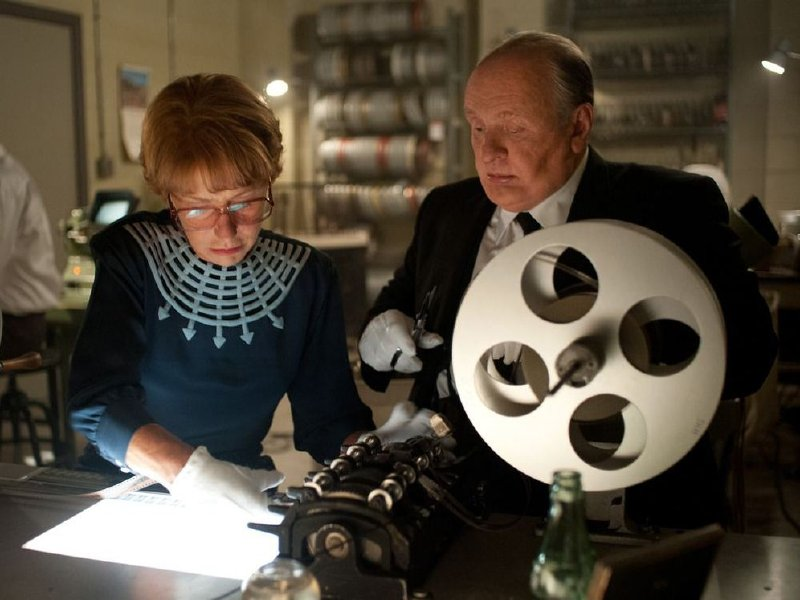 "Helen Mirren as Alma Reville and Anthony Hopkins as Alfred Hitchcock in ""Hitchcock."""
