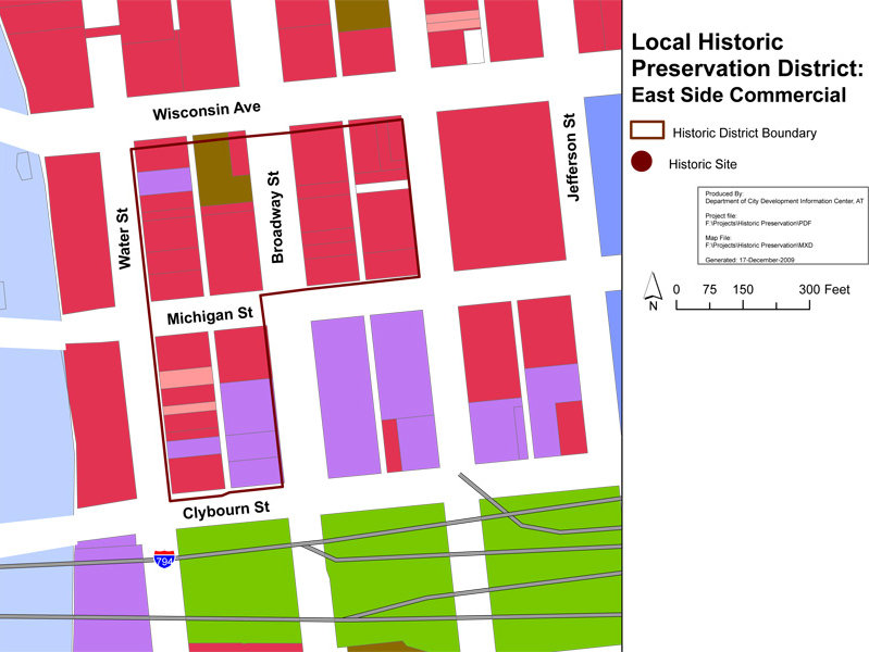 This map shows the small, but historic and vibrant-as-ever, East Side Commercial Historic District.