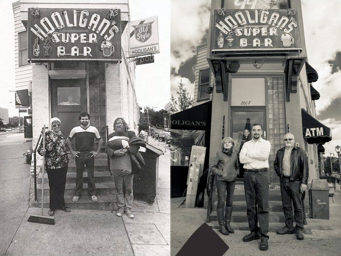 John Sidoff, center in the photo at left, when he bought the place. At right, the Sidoffs flank new owner Mark Buesing.
