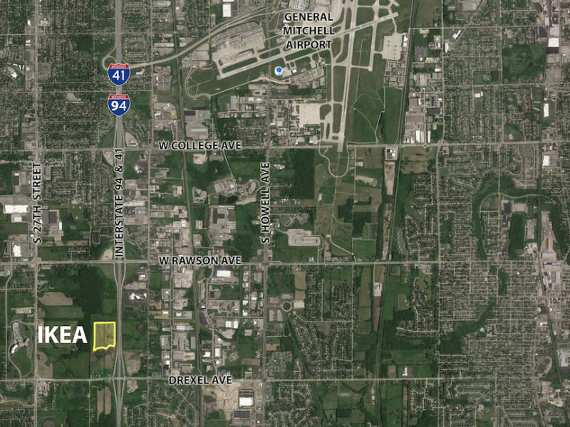 The new Oak Creek IKEA will land in the northwest corner of I 94 and Drexel  Avenue. IKEA s first Wisconsin location to open in Oak Creek in summer