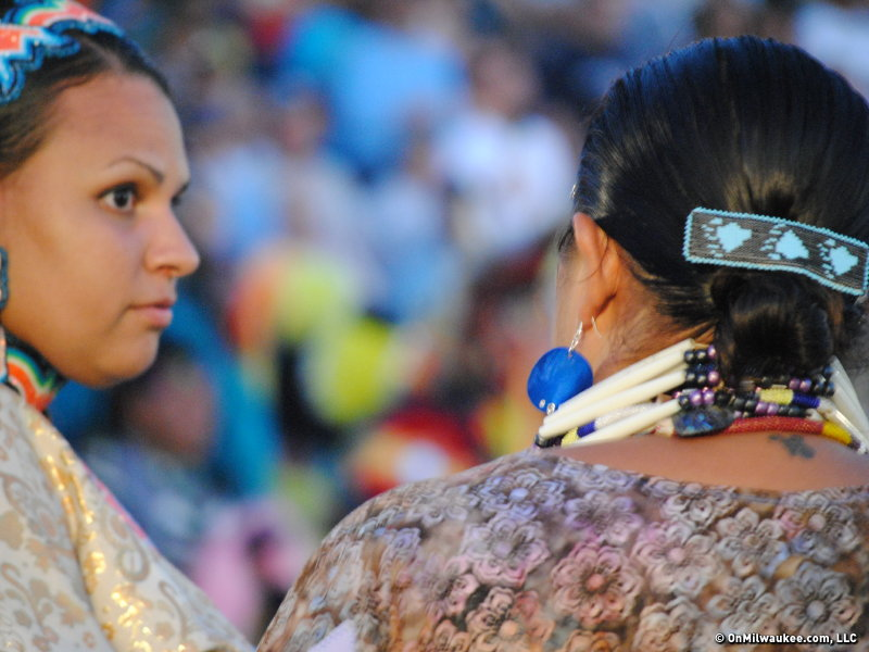 Women chat at the end of the Pow Wow.