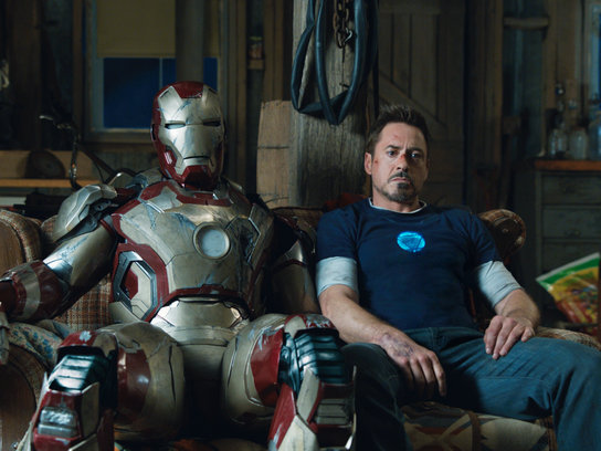 "Robert Downey Jr. and a pretty beat-up metal suit star in ""Iron Man 3,"" now playing."