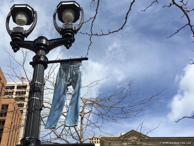 What's up with the jeans on Downtown light poles?