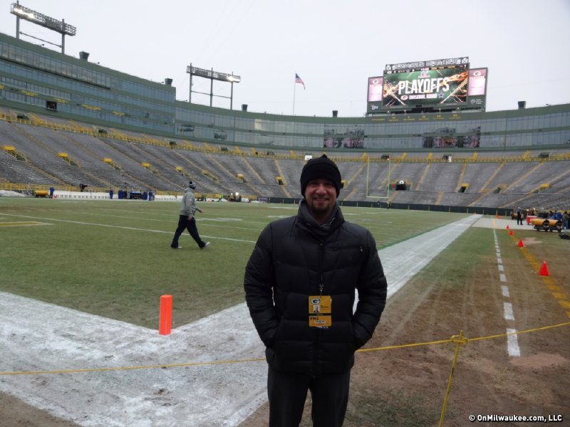Sports Editor Jim Owczarski at Lambeau Field - which wasn't his favorite Wisconsin sports venue!