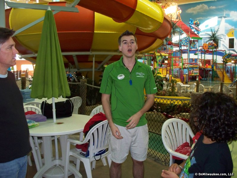 An aquatics expert chats us up in the always-84-degree water park prior to getting a peek at the pump room.