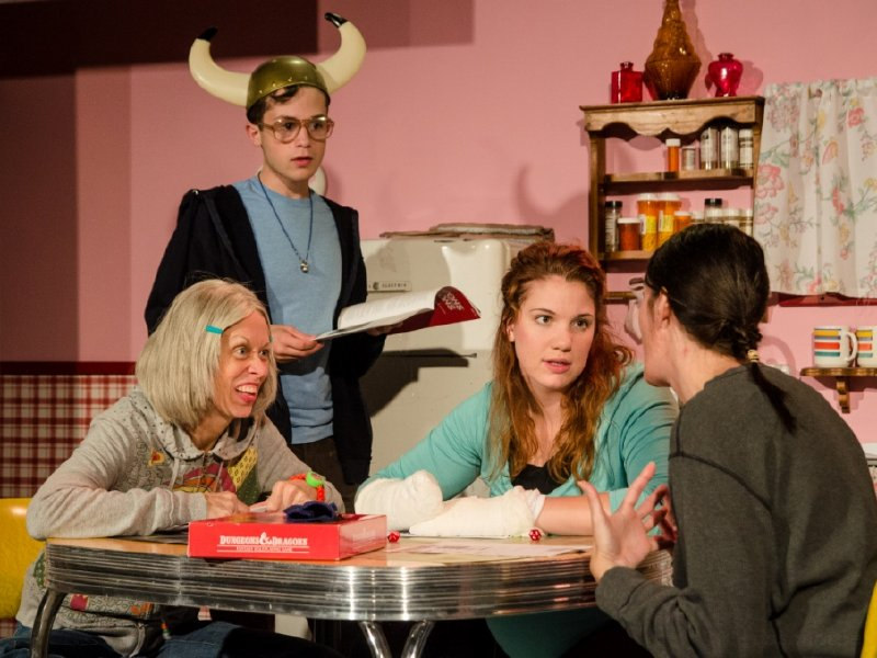 "Right Diane Lane, Ryan Krueger, Linnea Koeppel and Laura Monagle in The Splinter Group's ""Kimberly Akimbo."""