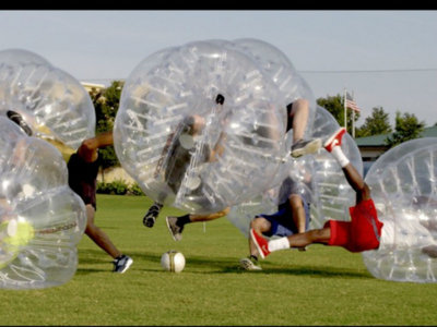 Get some aggression out and go play Knockerball by the lake this Saturday