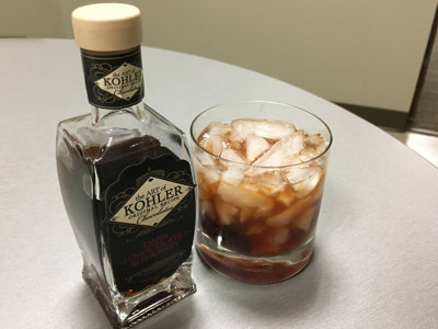 Mixologist Peter Kalleward demos a Kohler Dark Chocolate Brandy Old Fashioned