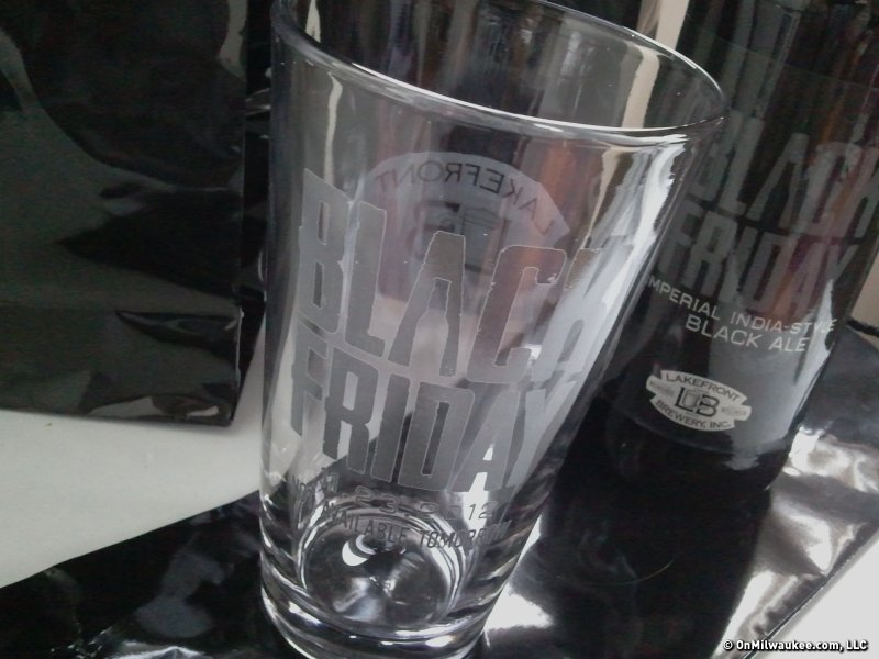 The swag: Three pint glasses and three bottles of Black Friday.