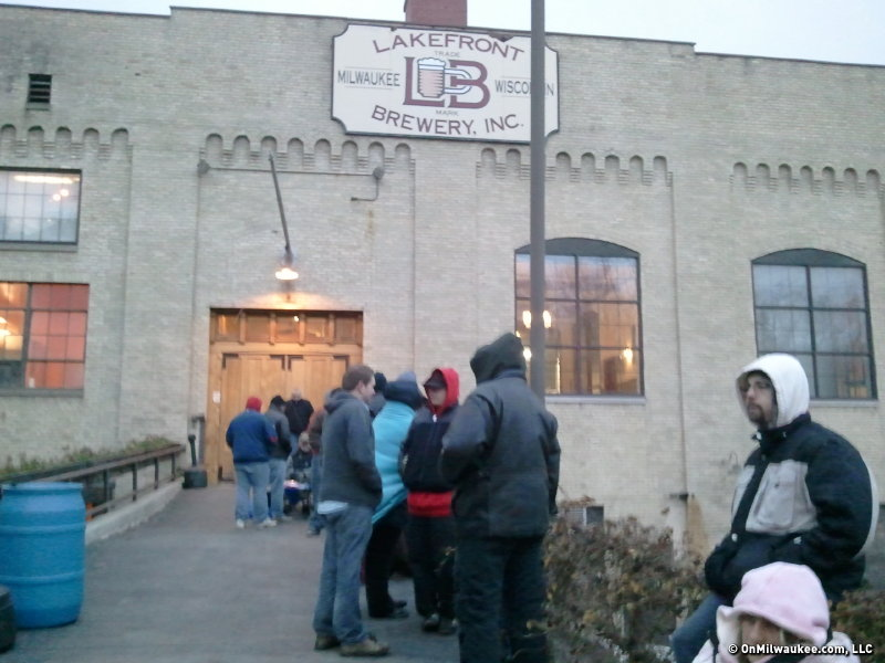 The line at the brewery at about 7 a.m.