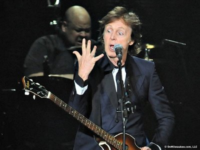 Paul McCartney and his band rehearsed in Milwaukee yesterday