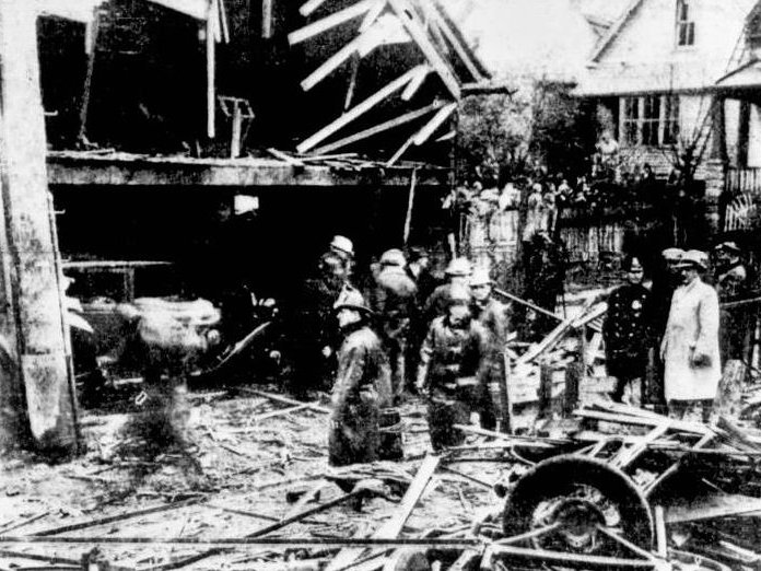 The general scene of the wreckage after the explosion on November 3, 1935. (Originally published in Milwaukee Journal.)