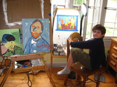 Mother and son find solace in painting