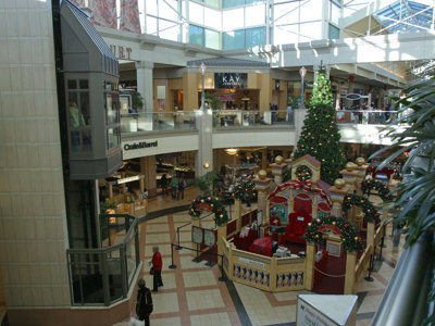 Still decked out for the holiday season, Mayfair Mall was packed inside and out.