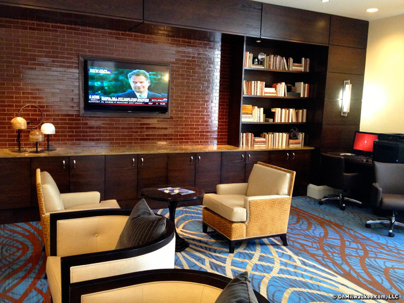 The lounge also has a business center, televisions and comfortable seating.