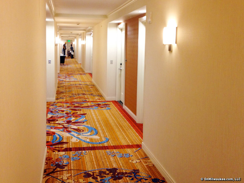 The corridors on the guest room floors are bright and colorful.