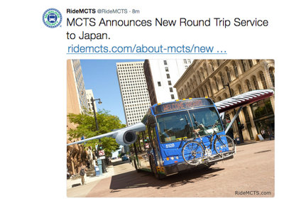MCTS boards the early bus to April Fools' with round trip service to Japan