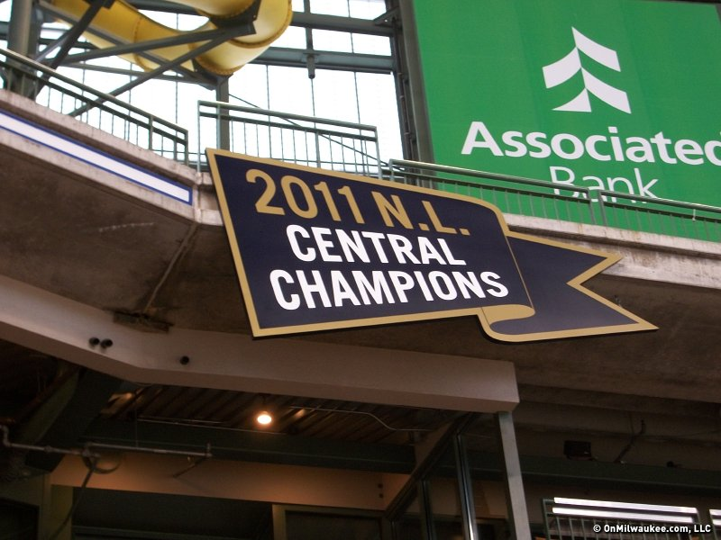 The Brewers affixed the 2011 NL Central Division banner to the Miller Park facade this morning.