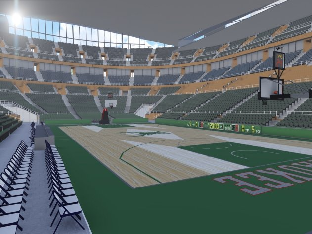 A means for bringing in natural light could be a part of the interior of a new arena.