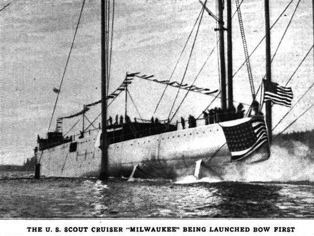 The 1922 launch of the USS Milwaukee.
