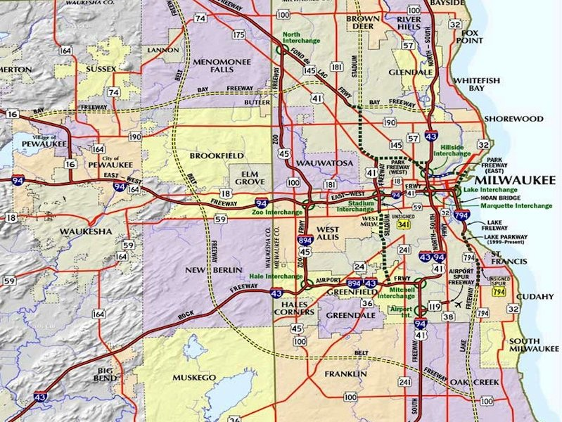 Milwaukee's freeway history - OnMilwaukee on map of lake ripley wi, map monroe county wi, map of fort atkinson wi, map of lakewood wi, map of lafayette county wi, map of la crosse county wi, map of calumet county wi, map of fond du lac county wi, map of brighton wi, map of rock lake wi, map of green county wi, map of iowa county wi, map of city of milwaukee wi, map of de soto wi, map of wisconsin showing counties, map of dodge county wi, map of eau claire county wi, map of clark county wi, map of st croix county wi, map adams county wi,
