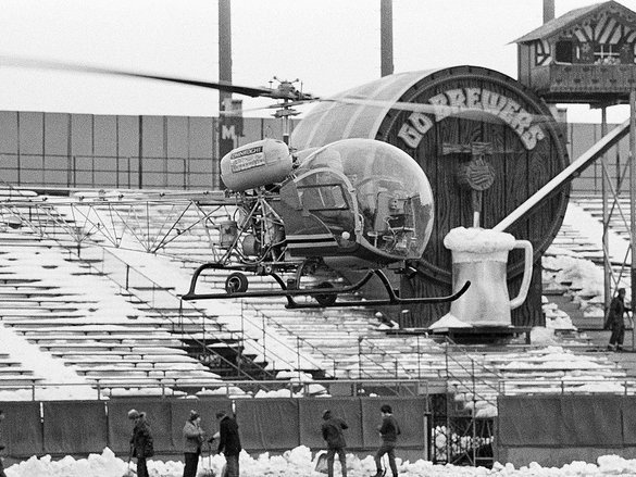 A 1973 spring snowstorm forced the Brewers to delay the home opener.