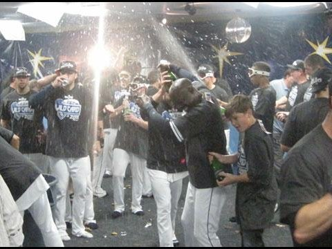 After their improbable come-from-behind win, coupled with Boston's heartbreaking loss, the Tampa Bay Rays celebrated winning the American League Wild Card.