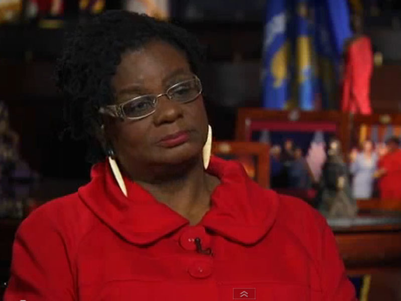 U.S. Rep. Gwen Moore, D-Wisconsin, appeared on the Colbert Report on Wednesday, May 15.