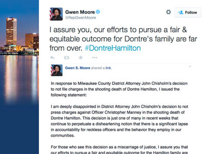 Rep. Gwen Moore statement on Dontre Hamilton decision